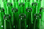 Free Stock Photo: Empty green beer bottlenecks.