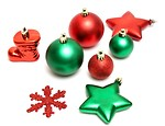 Free Stock Photo: Green and red Christmas ornaments isolated on a white background.
