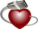 Free Stock Photo: Illustration of a red heart with a USB cable.