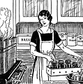 Free Stock Photo: Vintage illustration of a woman in a kitchen.