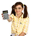 Free Stock Photo: A smart girl with glasses holding a calculator.