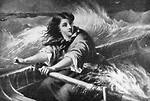 Free Stock Photo: Vintage illustration of a woman rowing a boat on rough seas.