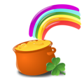 Free Stock Photo: Illustration of a pot of gold and a rainbow for Saint Patrick's Day.