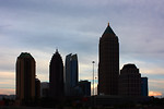 Free Stock Photo: Silhouette of Atlanta skyline during a sunset.