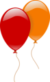 Free Stock Photo: Illustration of a red and an orange balloon with a transparent background.
