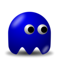Free Stock Photo: Illustration of an arcade styled blue ghost with a transparent background.
