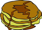 Free Stock Photo: Illustration of pancakes covered in syrup with a transparent background.