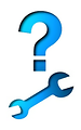 Free Stock Photo: Illustration of a question mark and a wrench.