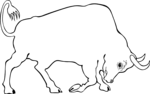 Free Stock Photo: Illustration of a charging bull.