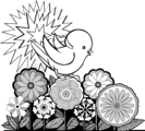 Free Stock Photo: Illustration of a baby bird perched on flowers.