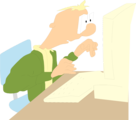 Free Stock Photo: Illustration of a cartoon man at a computer.