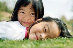 Free Stock Photo: Asian girls lying in the grass.