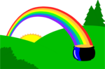 Free Stock Photo: Illustration of a pot of gold at the end of a rainbow.