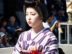 Free Stock Photo: Closeup of a young girl in a kimono in the 2006 Aizu Clan Parade in Aizu-Wakamatsu, Fukushima Prefecture, Japan.