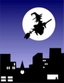 Free Stock Photo: Illustration of a witch flying over a city.
