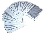 Free Stock Photo: A deck of cards spread out on a white background.