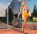 Free Stock Photo: A beautiful blond in a bikini on a tennis court.