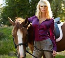Free Stock Photo: A beautiful blonde posing with a horse.