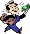 Free Stock Photo: Illustration of a man with cash and bacon.