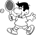 Free Stock Photo: Illustration of a cartoon man playing tennis.