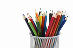 Free Stock Photo: Colored pencils in a pencil holder isolated on a white background.