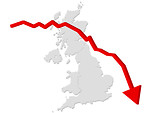 Free Stock Photo: Falling graph with a map of the United Kingdom.
