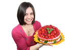 Free Stock Photo: A beautiful woman holding a strawberry cake isolated on a white background.