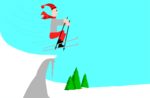Free Stock Photo: Illustration of a man jumping on skis.