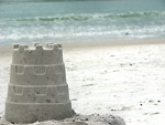 Free Stock Photo: A sandcastle overlooking the ocean.