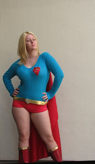 A beautiful blonde posing in a Supergirl costume at Dragoncon 2008 in Atlanta, Georgia.