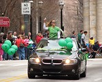 Free Stock Photo: A woman in a car in the 2010 Atlanta Saint Patrick