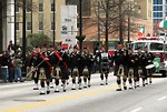 Free Stock Photo: Men marching with bagpipes at the 2010 Atlanta Saint Patrick's Day Parade.