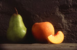 Free Stock Photo: A peach and a pear