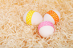 Free Stock Photo: Easter eggs with ribbons on straw