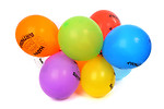 Free Stock Photo: Colorful birthday balloons isolated on a white background