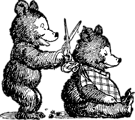 Free Stock Photo: Illustration of cartoon bears giving a haircut