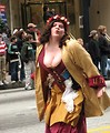 Free Stock Photo: A medieval costumed woman blowing a kiss in the 2010 Saint Patricks Day Parade in Atlanta, Georgia.