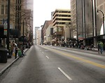 Free Stock Photo: An emptry street with spectators before the 2010 Saint Patricks Day Parade in Atlanta, Georgia.