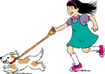 Free Stock Photo: Illustration of a girl walking a dog.