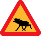 Free Stock Photo: Illustration of a moose crossing warning sign