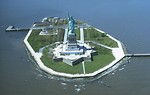 Free Stock Photo: Aerial view of the Statue of Liberty monument on Liberty Island