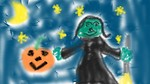 Free Stock Photo: A drawing of a witch and jack-o-lantern for Halloween