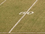 Free Stock Photo: 50 yard line on a football field.