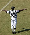 Free Stock Photo: A football referee on a field making an incomplete pass signal