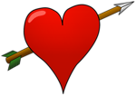 Free Stock Photo: Illustration of a red heart with an arrow