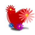Free Stock Photo: Illustration of a red heart with flowers.