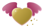 Free Stock Photo: Illustration of a gold heart with wings
