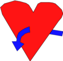 Free Stock Photo: Illustration of a red heart with a blue curved arrow