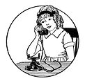 Free Stock Photo: Vintage illustration of a young girl talking on a telephone.