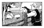 Free Stock Photo: Vintage illustration of a famer looking over pigs on his farm.